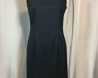 Vintage Black Sleeveless Dress by AGB Dress, Ladies Size 8, Basic Black Dress, Washable Polyester