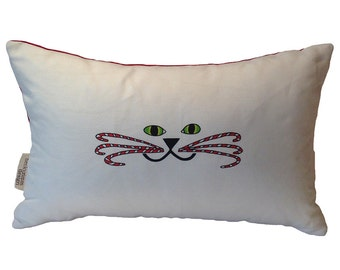 Candy Cane Kitty Face Pillow- Christmas Cat Pillow- Cat Face Pillow- Cat Face Lumbar Pillow- by beckyzimmdesign