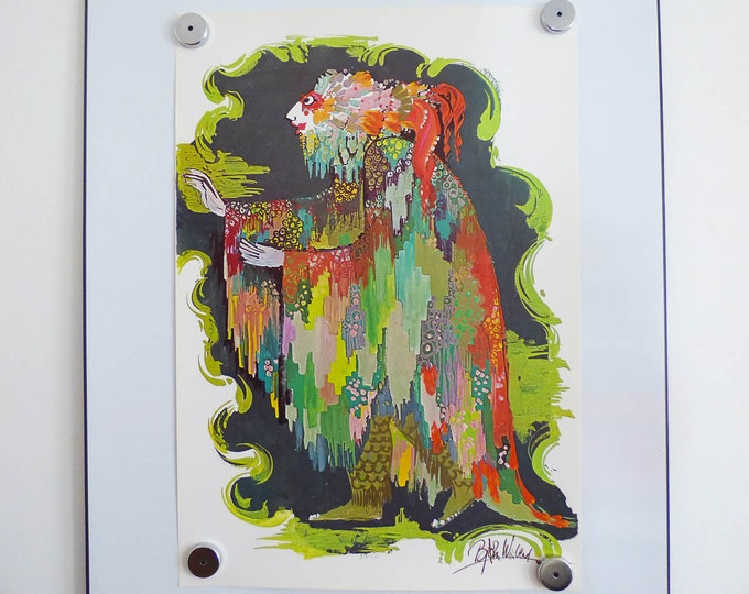 Bjorn Wiinblad poster The witch of the sea Vintage Danish modernist print