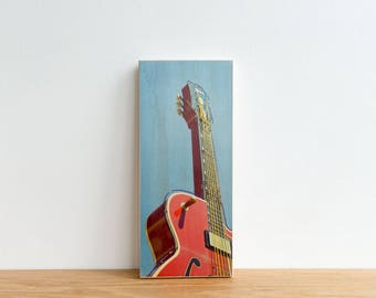 Red Guitar Photography, Photo Art Block, Image Transfer on wood, 'Guitar' by Patrick Lajoie, Nashville, americana, signage, music