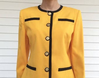 80s Yellow Suit Skirt Jacket Vintage Retro Strong 6 S Rayon Poly
