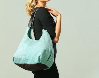 Woman's hobo bag, Light Blue Vegan Tote, Woman's Hippie Bag, Women's shoulder bag, Casual Boho Tote bag, Large Urban bag, Boho Shoulder bag