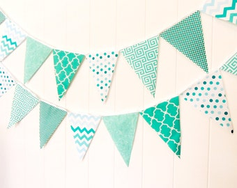 Fabric Garland, Banner Bunting, Fabric Pennant Flags, Mint, Turquoise, Teal Wedding, Photo Prop, Baby Nursery Decor, Birthday Party Garland