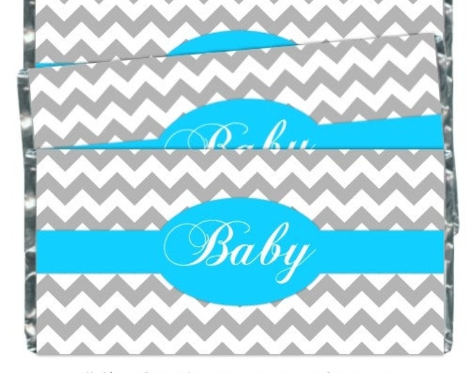 Printable Candy Wrappers, Baby Shower Candy Wrappers - Chocolate Bar Candy Wrappers - baby shower, chevron design