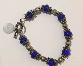 Imported Royal Blue Glass and Sterling Silver Bracelet