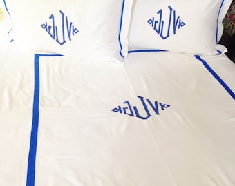 Monogram Twin Duvet Cover with Ribbon Trim / Monogram Bedding / Personalized Bedding / Dorm Room