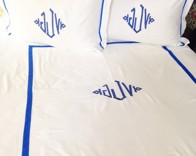 Featured listing image: Monogram Twin Duvet Cover with Ribbon Trim / Monogram Bedding / Personalized Bedding / Dorm Room