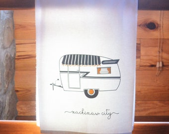 Retro Camper Flour Sack Towel - Vintage Trailer Towel - Gray and Yellow Trailer Towel - Custom Cotton Towel - Vintage Camper Theme