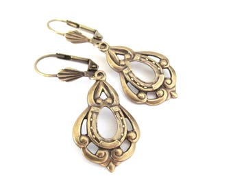 Art Nouveau Earrings Horse Shoe Earrings Lucky Charm Earrings Antiqued Brass Earrings Wedding Jewelry Hawaiibeads