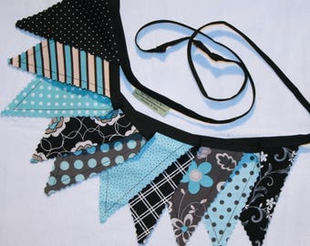 Pennant bunting, aqua blue, black, gray, fabric banner, girls nursery decor, mom birthday, grandma birthday - 10 double sided flags total