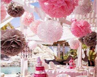 Pompoms 18 paper flower/ flower balls/ wedding decoration/ decoration/ paper flower poms/ baby shower/ engagement party decorations