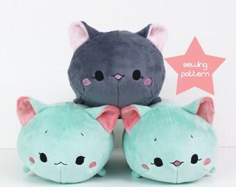 "PDF sewing pattern - Cat Roll plush - stacking loaf plushie - easy cute anime kawaii stuffed animal DIY softie plush toy 12"" TeacupLion"