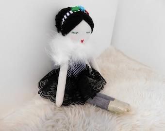 RAG DOLL-Cloth doll-Unique rag doll-Fabric doll- Rag doll with bun -Ballerina rag doll-Art rag doll-Ready to ship