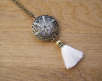 White Tassel Locket Pendant, Wedding boho style, Essential oil diffuser for bride, Brass filegree aromatherapy charm, Tribal dream catcher