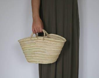 Natürliche Korb, klein, Stroh Tasche, Strandtasche, Sommertasche, Strohkorb, gewebt, Ablagekorb.