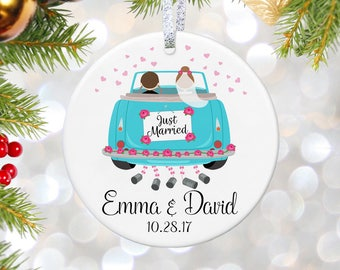 Just Married Gift Ornament Personalized Our First Christmas Married Ornament Couples Gift Wedding Gift Bridal Shower Gift Wedding Ornament