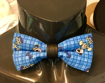 Blue with Cartoon Puppies Bow Tie