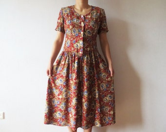Vintage 80s Red Floral Print Dress Button up Short Sleeve Shoulder Pads Summer Maxi Dress Plus Size Large