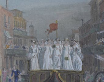 Genuine Antique Mounted Print titled The Brides of Venice c1870