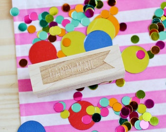 Happy Mail Rubber Stamp - Banner Stamp - Customized Stamp - Personalized