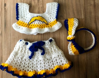 Baby Girl Crocheted Chargers Outfit, 3-6 months