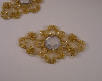 Yellow Gold Embroidered and Beaded Applique---One Piece