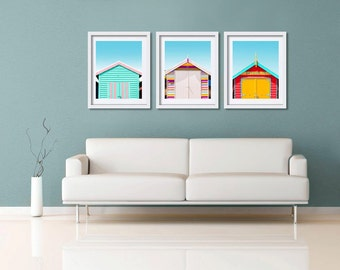 set of 3 wall art beach house decor photography print set coastal decor beach photography nautical nursery decor rainbow red blue yellow