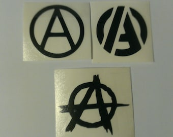 3 Decal set : 3Anarchy Symbol Circle A Vinyl Decals