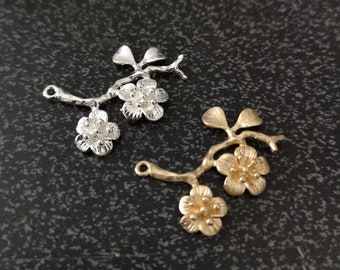 6 pcs of brass branch charm-1164-35x30mm matte gold/shiny silver