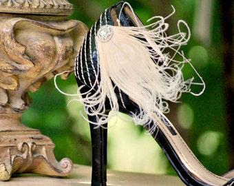 Sparkly Ivory Shoe Clips. Big Day Stylish Feminine, Couture Statement Stunning, Burlesque Boudoir Bride Bridal Bridesmaid, Creamy Beige Blue