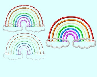 Cute Rainbow APPLIQUE Embroidery Design (includes 3 different stitch styles)  INSTANT DOWNLOAD