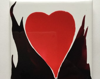 Flaming Heart (ceramic tile),Valentine special ! High gloss finish makes it fun to touch!!!