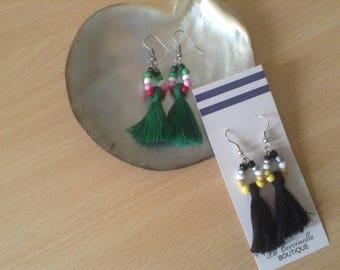Beaded Ombre Tassel Earrings