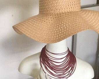 Burgundy multi strand leather choker