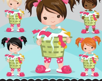 Laundry, cleaning girl clipart graphics, planner stickers, scrapbooking, digitized embroidery, commercial use, chore charts, cute character