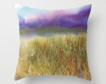 Purple Mountains Watercolor Throw Pillow Cover