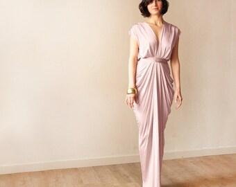 Bridesmaid blush pink maxi gown , Maxi pink formal dress 1008