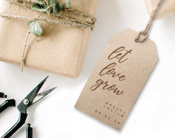 """Personalised """"Let love grow"""" Rubber Stamp with Modern Calligraphy  