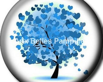 Round cabochon resin 25 mm - tree of life stick (1248) - blue heart