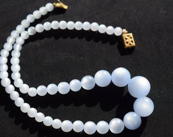 Vintage Blue Moonglow pearl necklace. Great spring color.