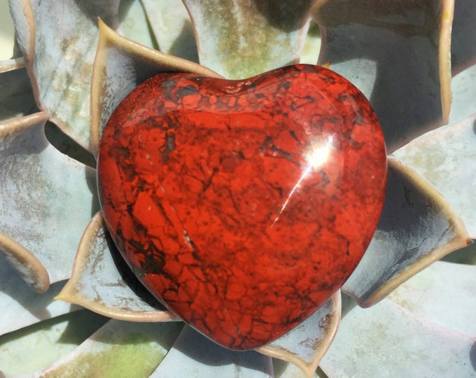 Red  Breciatted Jasper Heart Crystal, Healing Crystals and Stones