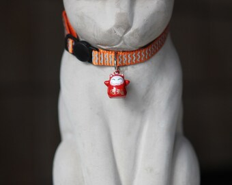 Lucky red kittie bell breakaway cat collar ORANGE
