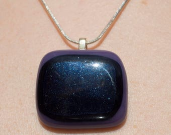 blue adventurine glass pendant
