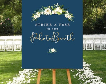 Navy Photobooth Sign, Navy Floral Sign, Wedding Sign Navy, Wedding Photo Sign, Navy Wedding Sign with flowers, Printable Sign Navy Gold
