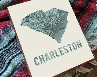 Charleston SC Map - Charleston Art - Charleston SC Art - Charleston South Carolina - Wood Block Wall Art Print