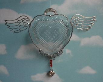 Embossed Design Heart, Avon Collectible Piece, Winged Heart, Locket Dangle Piece