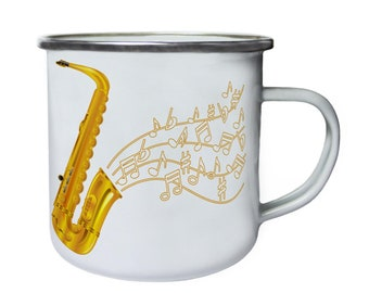 International Jazz Festival Saxophone Retro,Tin, Enamel 10oz Mug a951e