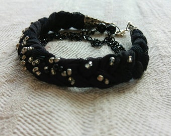Black bracelet, beaded bracelet, handmade multiple layers bracelet, jersy bracelet with chains