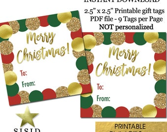 Merry Christmas Printable Gift Tags, Red Green Gold Christmas Gift Tags Printable, Ready to Print INSTANT DOWNLOAD