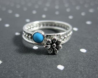 Free Spirit Floral Turquoise Sterling Silver Stacking Ring Set - 3 Rings
